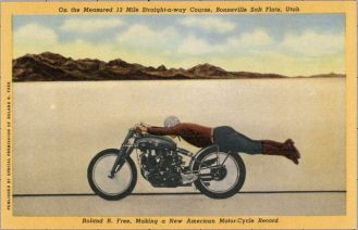 ca. 1951, Utah, USA --- On the Measured 13 Mile Straight-a-way Course, Bonneville Salt Flats, Utah. Roland R. Free, Making a New American Motor-Cycle Record. Roland R. Free, of Los Angeles, Calif., riding a British-Vincent Motor-Cycle in a prone position to cut down wind resistance approximately 2 miles, on Sept. 11, 1950, established a new American speed record for 1 mile @ 156.71 miles per hour. Mr. Free's picture was taken from an automobile running parallel to the black line while traveling in excess of 100 M.P.H. just before the auto reached the measured 1 mile zone of the 13 mile straight-a-way course, Mr. Free caught up with the automobile and immediately after his picture was taken, he gave his Motor-Cycle the gun; the photographers say it seemed like they were still, the way he left them with his sudden burst of speed. --- Image by © Lake County Museum/CORBIS