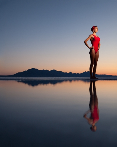 Fitness model Liz Jackson at the Bonneville Salt Flats near Wendover, Utah on Sunday, June 27, 2011. © 2011 Robert Seale
